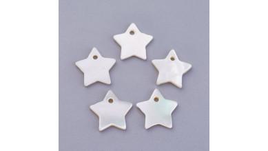 Estrellas de nacar color blanco 12 mm - Colgantes ( 10 uds)