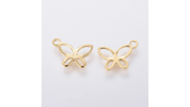Mariposa calada 11x7.5 mm- Colgante acero inox dorado