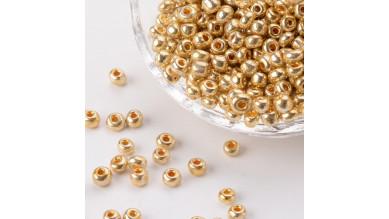Rocalla cristal 6/0, 4 mm color dorado (20 gramos)