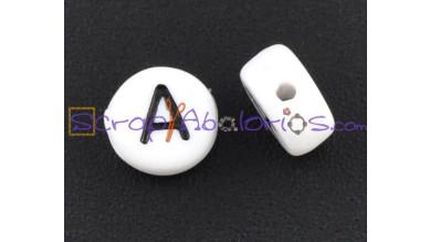 Abalorio redondos abecedario blanco 7 mm (20 uds) LETRA A