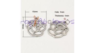 Rosa troquelada  (5 uds) - Colgante acero inoxidable 16x15 mm
