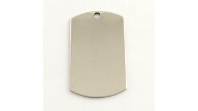 Chapa acero inoxidable placa militar para grabar 43x24 mm
