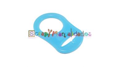 Anilla flexible para chupetero 47x32 mm , AZUL TRANSPARENTE