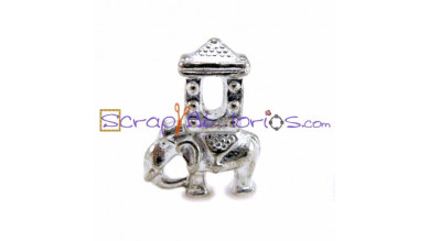 Abalorio elefante hindu 20x15 mm plata tibetana, taladro 5 mm
