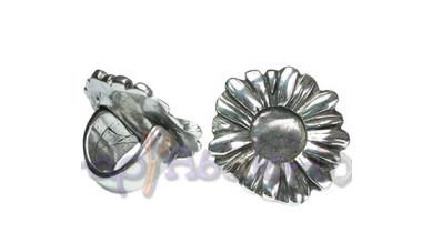Base anillo ZAMAK baño plata ajustable Flor 35 mm