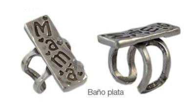 Base anillo ZAMAK baño plata Modelo MAMA rectangular  34x11 mm