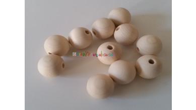 Bola madera haya sin lacar- Tamaño 18 mm- Taladro 4 mm