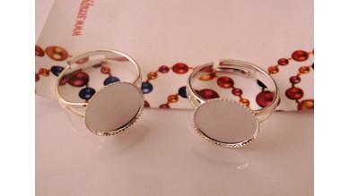 Base anillo plateado 18 mm y base relieve 13 mm (alta calidad)