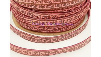 Cuero plano fucsia dibujos étnicos 12 mm rosa - 1 metro