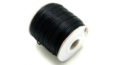 Cordon cola de raton 1 mm, color negro ( 1 metro)