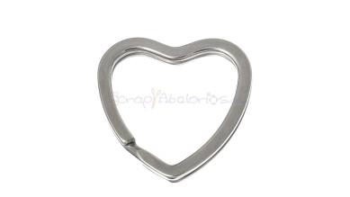 Anilla Llavero color plateado corazón 31x31 mm