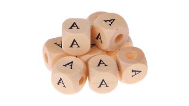 Cubo madera natural alfabeto 11x11 mm  -  LETRA A - 300 uds