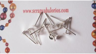 Base plateado claro pendiente palillo 4x11 mm (50 uds)