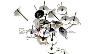 Base pendiente palillo acero inoxidable 10.5x8 mm  enganche 8 mm (20 uds)