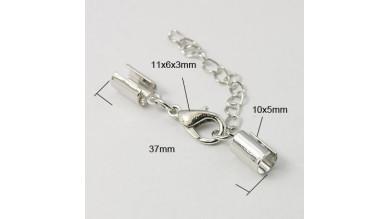 Cierre broche mosqueton y terminales plateado ( int 4 mm) - 5 sets