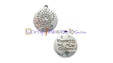 Colgante Medalla  Virgencita pilar cuidame 22x18 mm