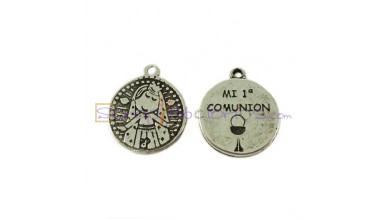 Colgante medalla de zamak Virgen - 1ª Comunion 18x14 mm