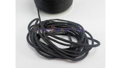 Cordon paracaidista 2.5 mm color negro liso ( 1 metro)