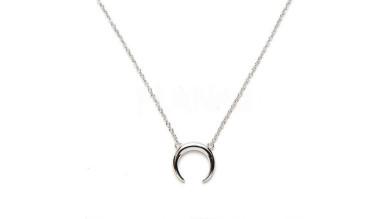 Collar media luna invertida (12 mm ) plata de ley (40+5 cm)