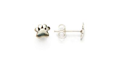 Pendiente plata de ley - Huellas mascota 6 mm   ( 1 par)