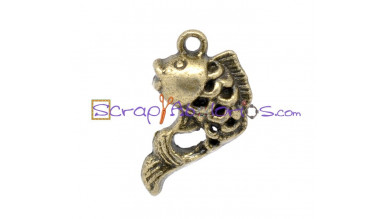 Colgante charm bronce  pececillo pez labrado 20x12 mm
