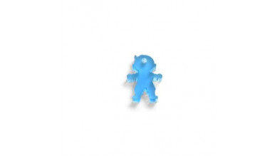Colgante plexy azul NIÑO 18x13 mm. Taladro 1.5 mm