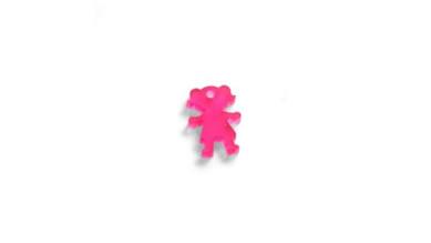 Colgante plexy rosa NIÑA 18x13 mm. Taladro 1.5 mm