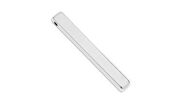 Colgante ZAMAK baño plata rectangulo para grabar 40 mm, int 2 mm