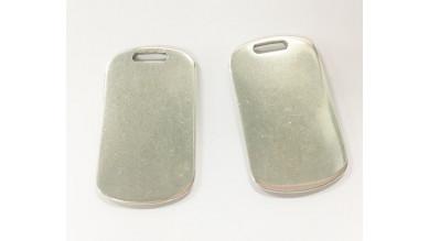 Colgante Zamak baño plata placa militar ideal grabar 49x28mm