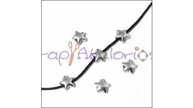 Entrepieza Zamak baño plata mini estrella 6 mm.Tal 1,4 mm - 5 uds