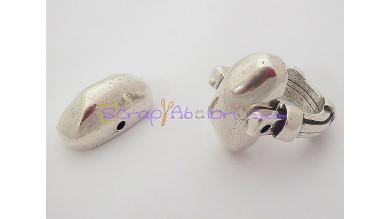 Accesorio anillo Zamak baño plata oval facetada 21x12 mm.