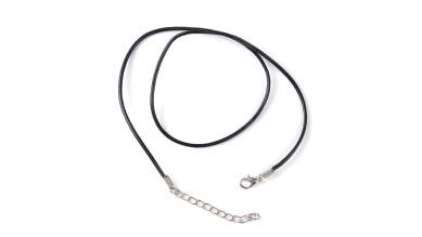 Base collar cordon cuero negro 43 cm 2 mm grosor