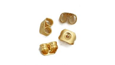 Trasera pendientes acero dorado 5x4 mm . 10 uds