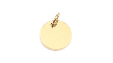 Moneda dorada chapita de acero lisa grosor 1.4 mm con anilla, ideal grabar 13x10 mm