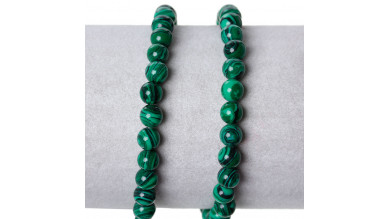 Hilera bolas de gema Malaquita verde 6 mm - hilera con 67 uds aprox