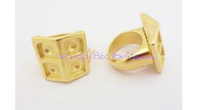 Base anillo ZAMAK dorado Modelo cuadrado 24x24 mm