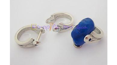 Base anillo ZAMAK plateado barra 27x22 mm.Hueco 12 mm.Talla 17