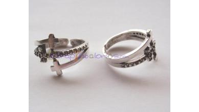 Base anillo  ZAMAK  baño plata ajustable 20x15 mm- Triple cruz