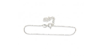 Pulsera Plata de Ley - Bolitas 1 mm diamantadas 15 cm+ 4 cm