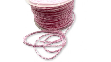 Cordón de poliamida torzado twist color pastel Rosa Bebe - 1 metro