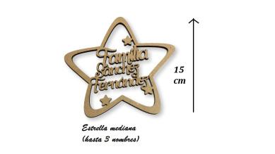 Estrella de Navidad mediana - 15 cm - Familiar personalizada POR ENCARGO  (15 días laborables aprox)