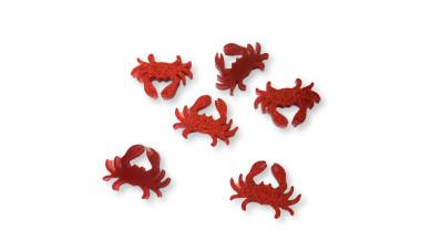 Plexy rojo purpurina - Aplique cangrejo 15 mm ( sin taladros)- 2 uds