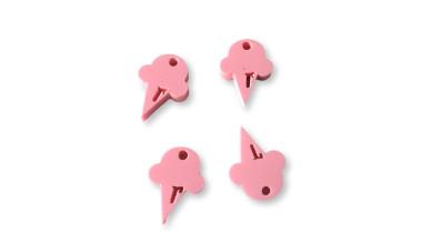 Plexy rosa pastel - Colgante helado cucurucho 15 mm, int 1.2 mm