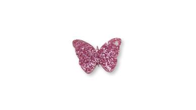 Plexy rosa glitter - Colgante mariposa 20 mm, int 1.2 mm