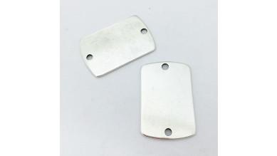 Entrepieza Zamak baño plata militar doble perforacion llavero colgantes 37x25 mm grabar