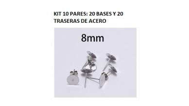 Kit bases pendientes 8mm (10 pares) - Bases pendiente palillo acero inoxidable 8x12 mm