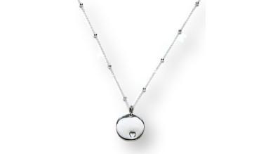 Gargantilla cadena bolitas plata de ley 40 cm con medalla corazon calado 15 mm