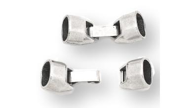 Cierre zamak clip agujero 10x7 mm cuero regaliz (liso)
