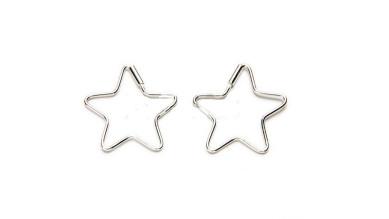 Pendiente plata de ley - Aros estrella 17 mm