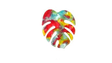 Colgante hoja mostera verano plexy 60x45 mm - Multicolor